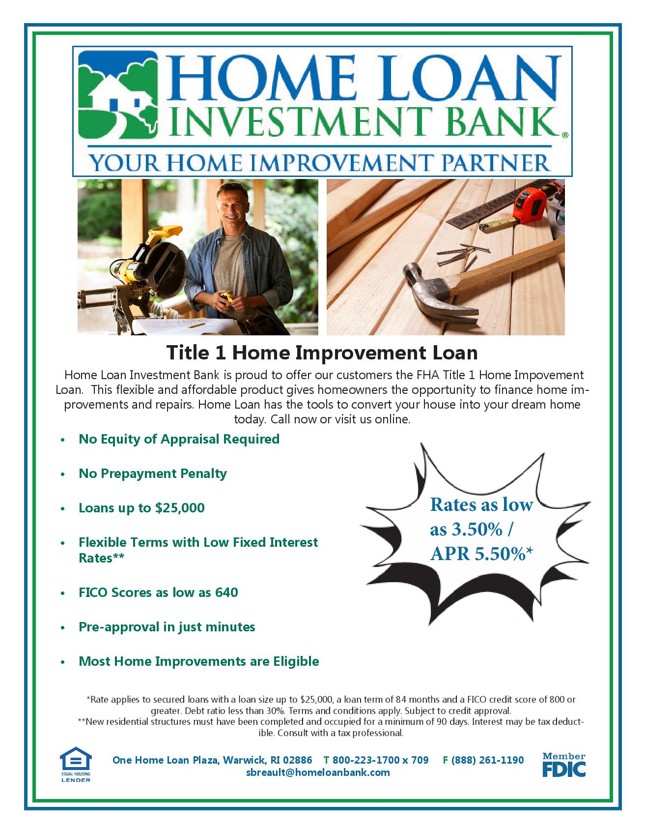 home loan investment bank financing information